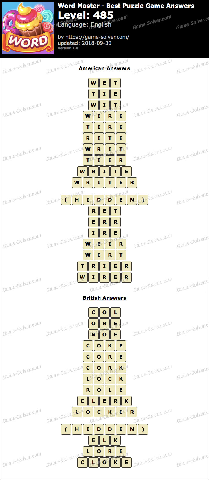 Word Master-Best Puzzle Game Level 485 Answers