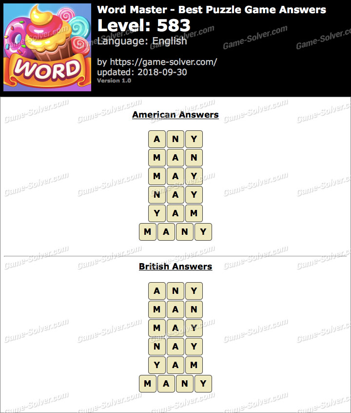 Word Master-Best Puzzle Game Level 583 Answers