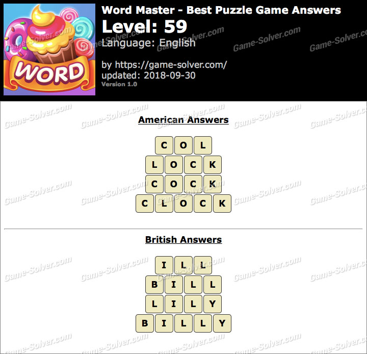 Word Master-Best Puzzle Game Level 59 Answers