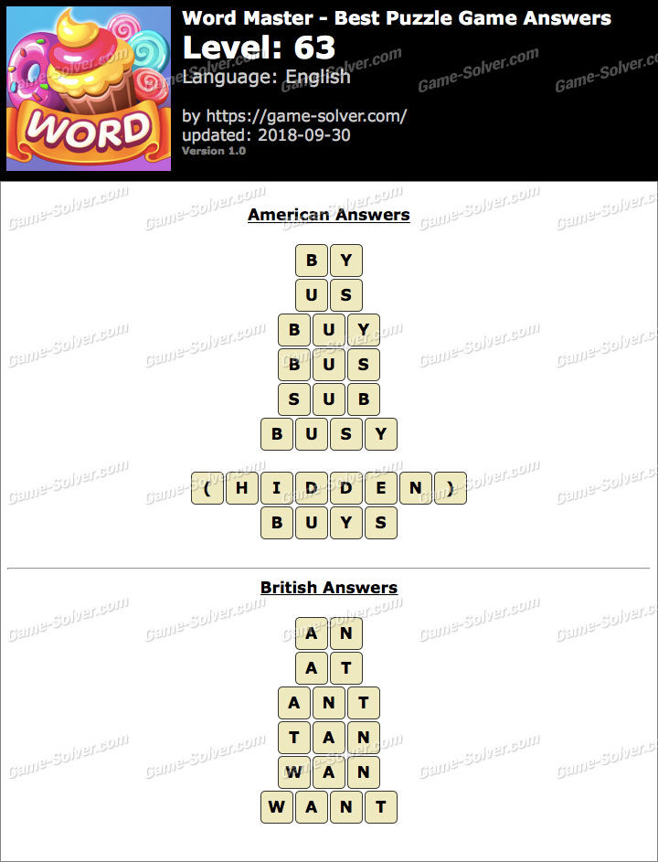 Word Master-Best Puzzle Game Level 63 Answers