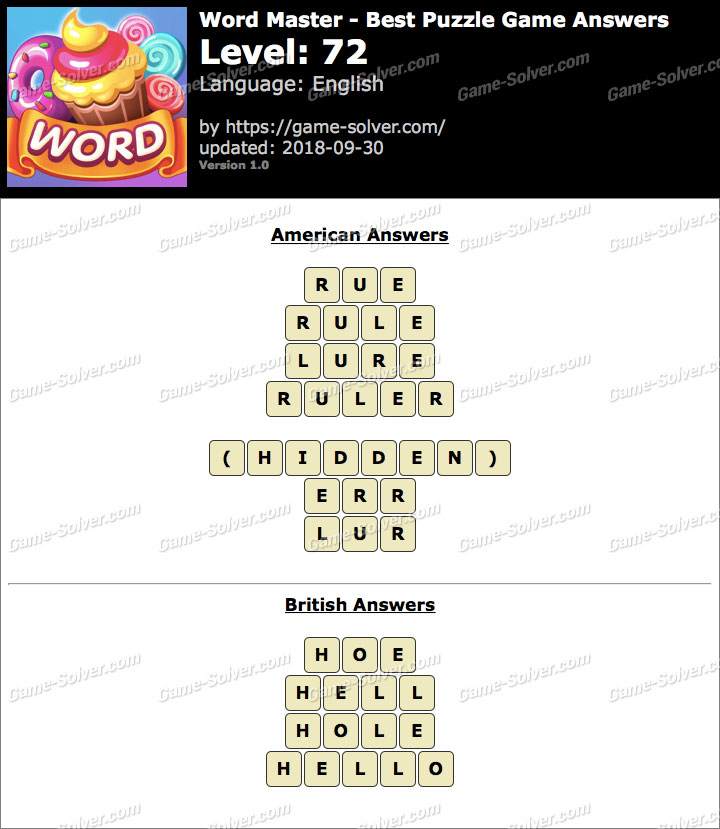 Word Master-Best Puzzle Game Level 72 Answers
