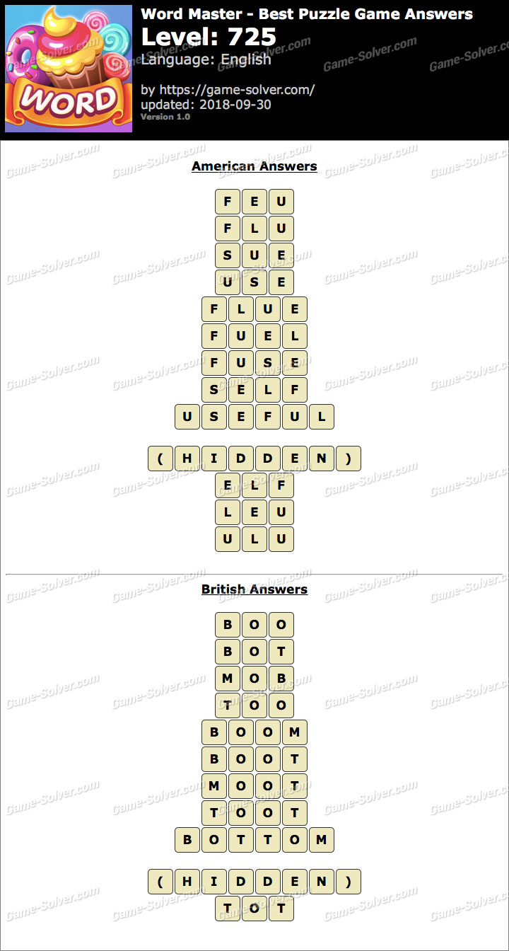Word Master-Best Puzzle Game Level 725 Answers