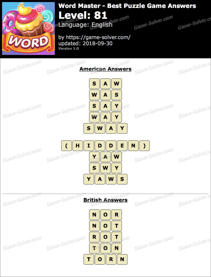 Word Master-Best Puzzle Game Level 81 Answers