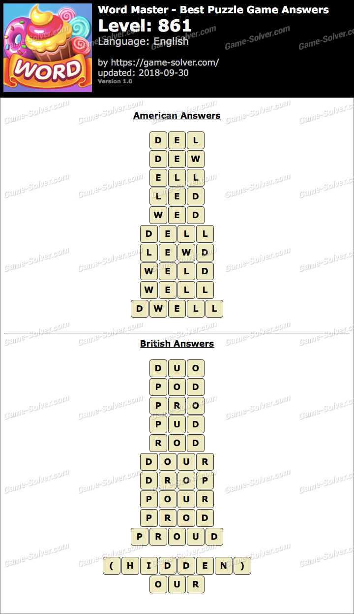 Word Master-Best Puzzle Game Level 861 Answers