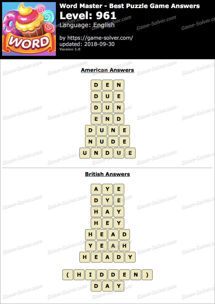 Word Master-Best Puzzle Game Level 961 Answers