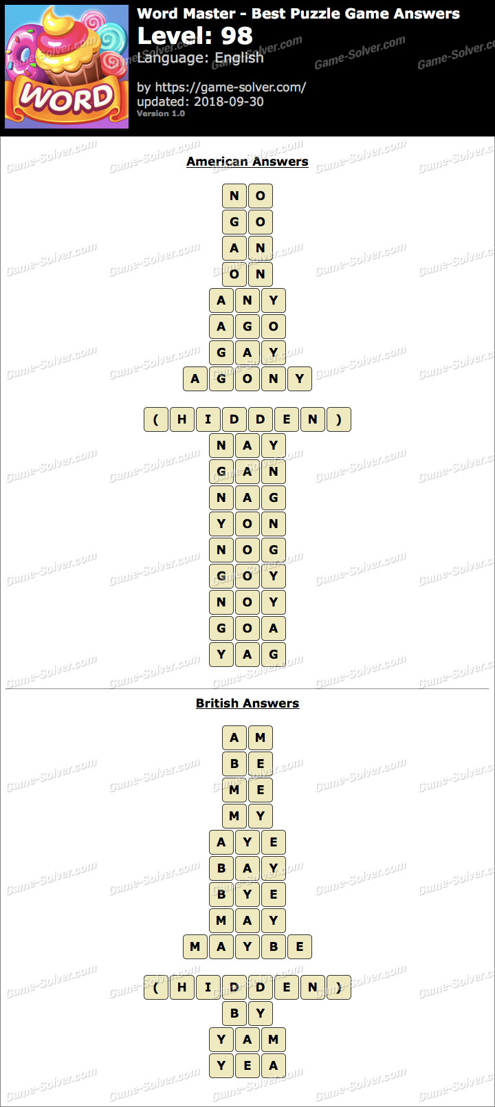 Word Master-Best Puzzle Game Level 98 Answers