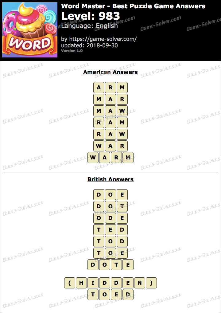 Word Master-Best Puzzle Game Level 983 Answers
