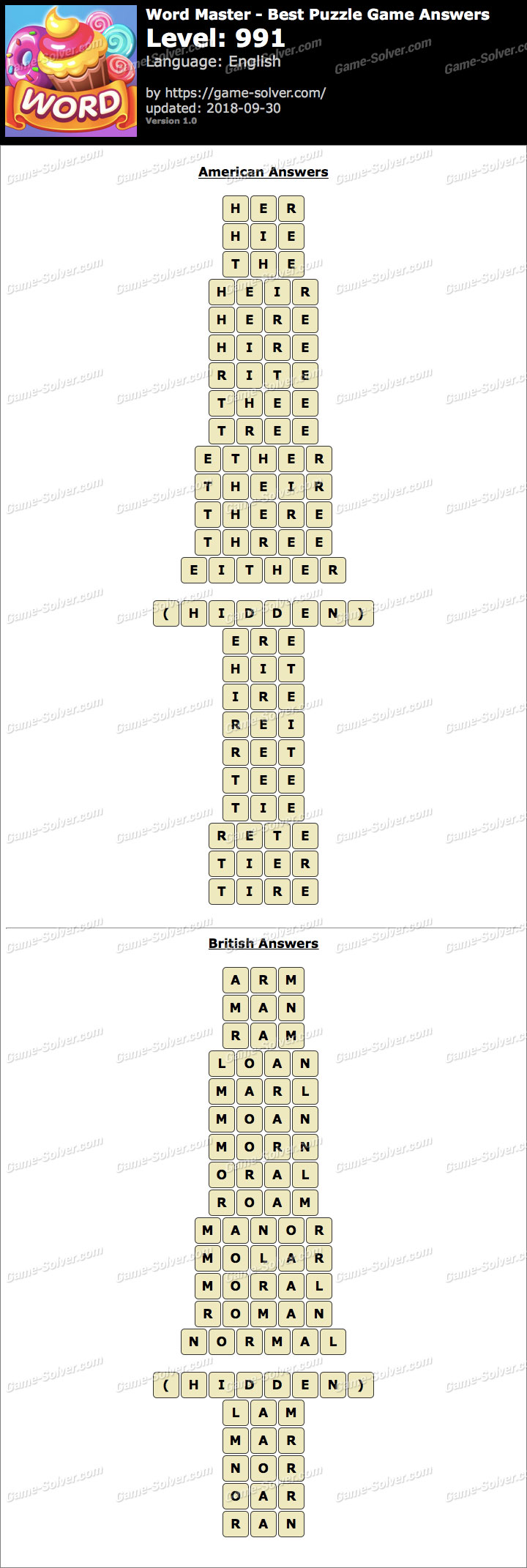 Word Master-Best Puzzle Game Level 991 Answers