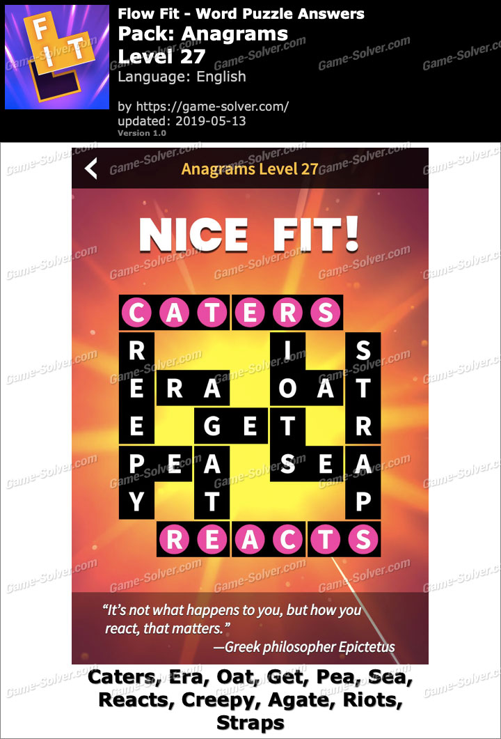 Flow Fit Anagrams-Level 27 Answers