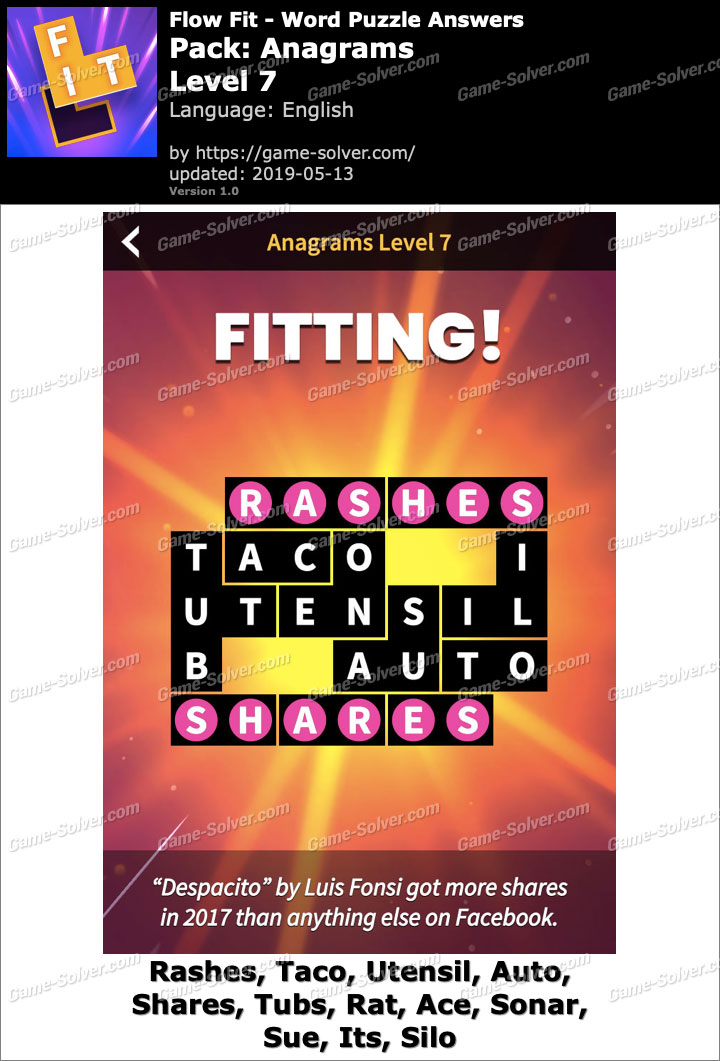 Flow Fit Anagrams-Level 7 Answers