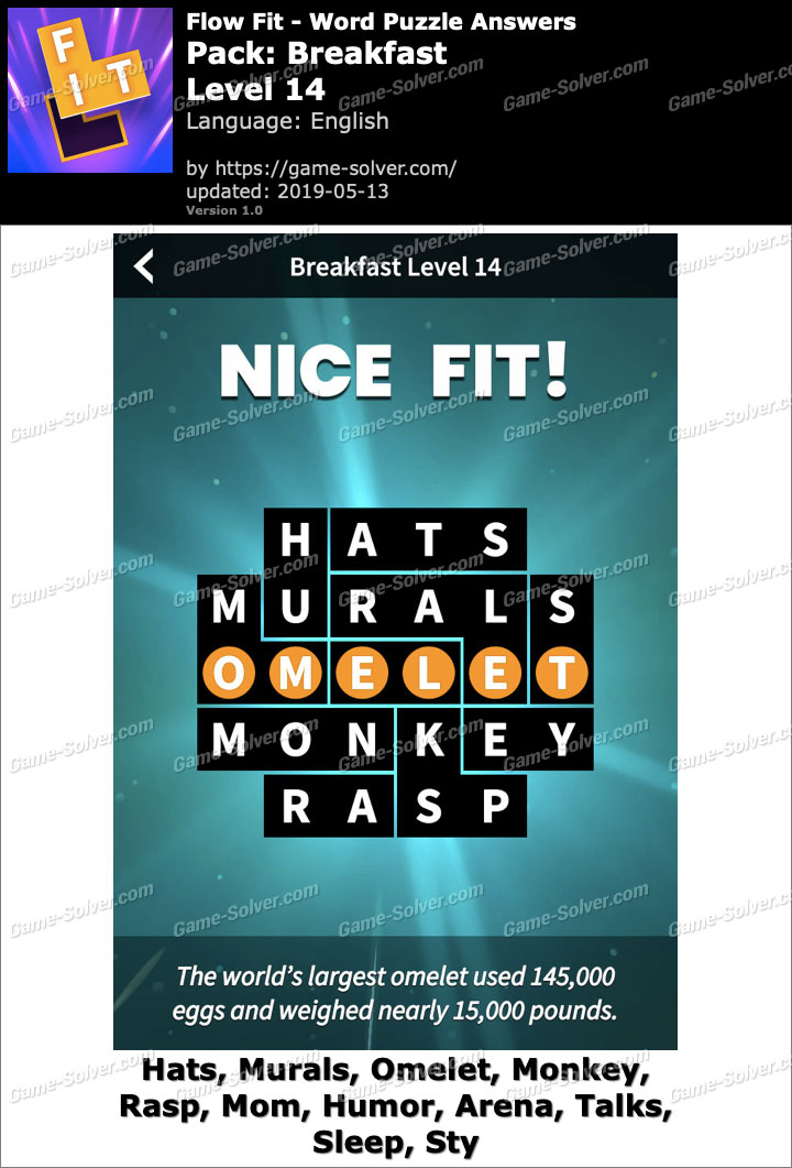 Flow Fit Breakfast-Level 14 Answers