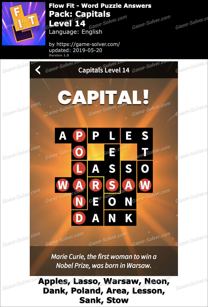 Flow Fit Capitals-Level 14 Answers