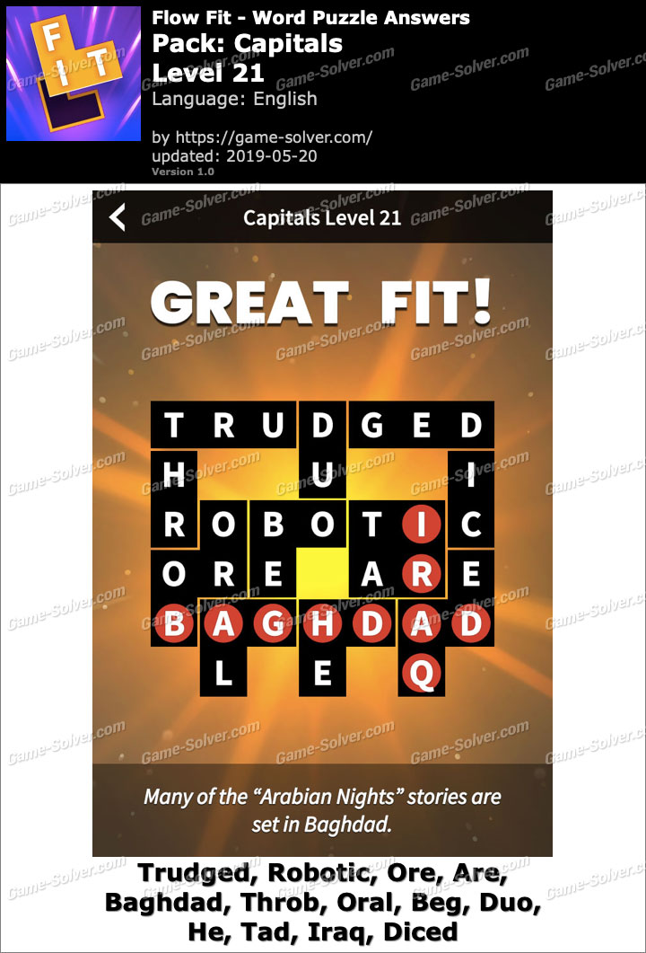 Flow Fit Capitals-Level 21 Answers