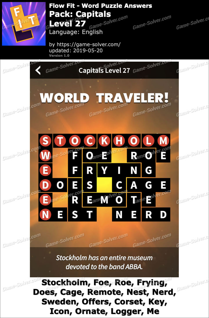 Flow Fit Capitals-Level 27 Answers