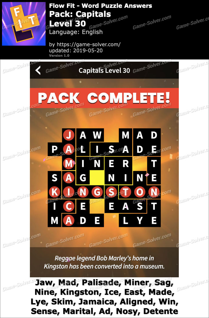 Flow Fit Capitals-Level 30 Answers