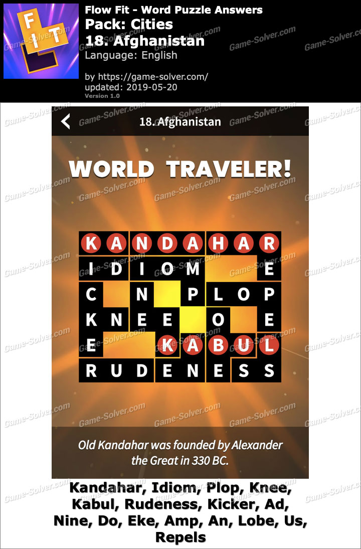 Flow Fit Cities-18 Afghanistan Answers