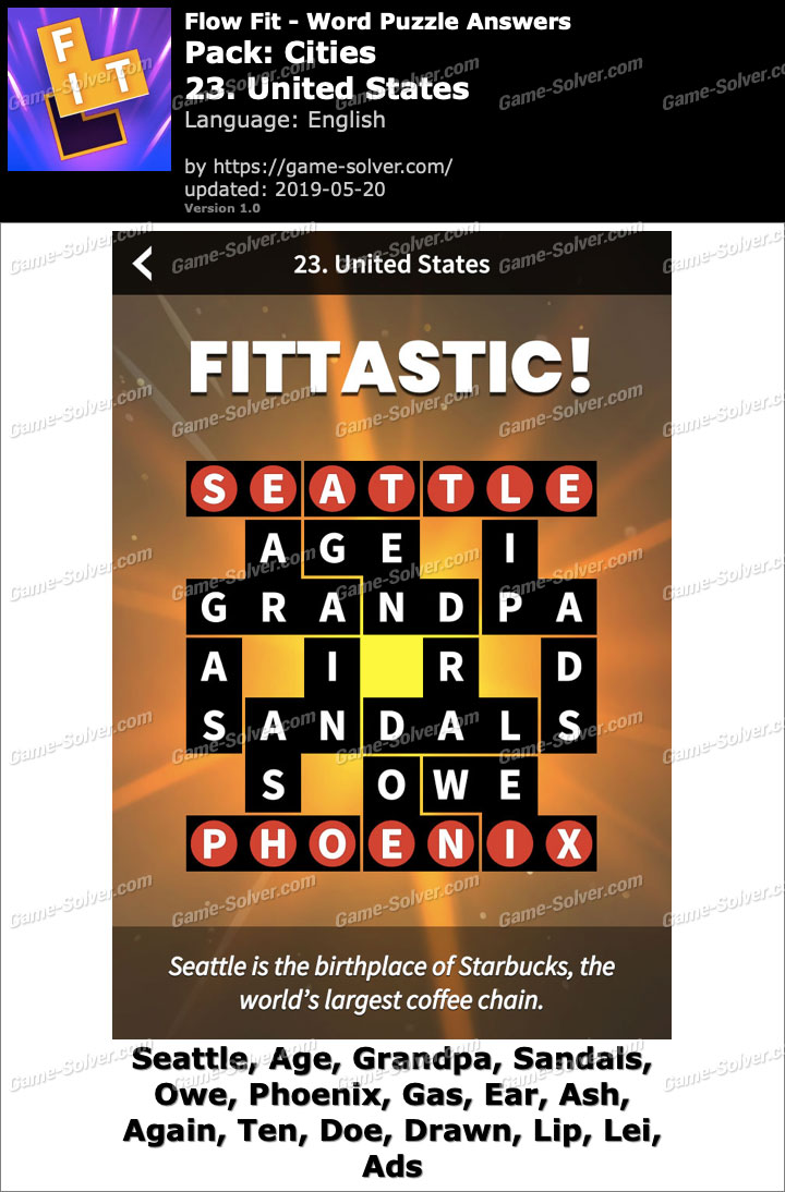 Flow Fit Cities-23 United States Answers