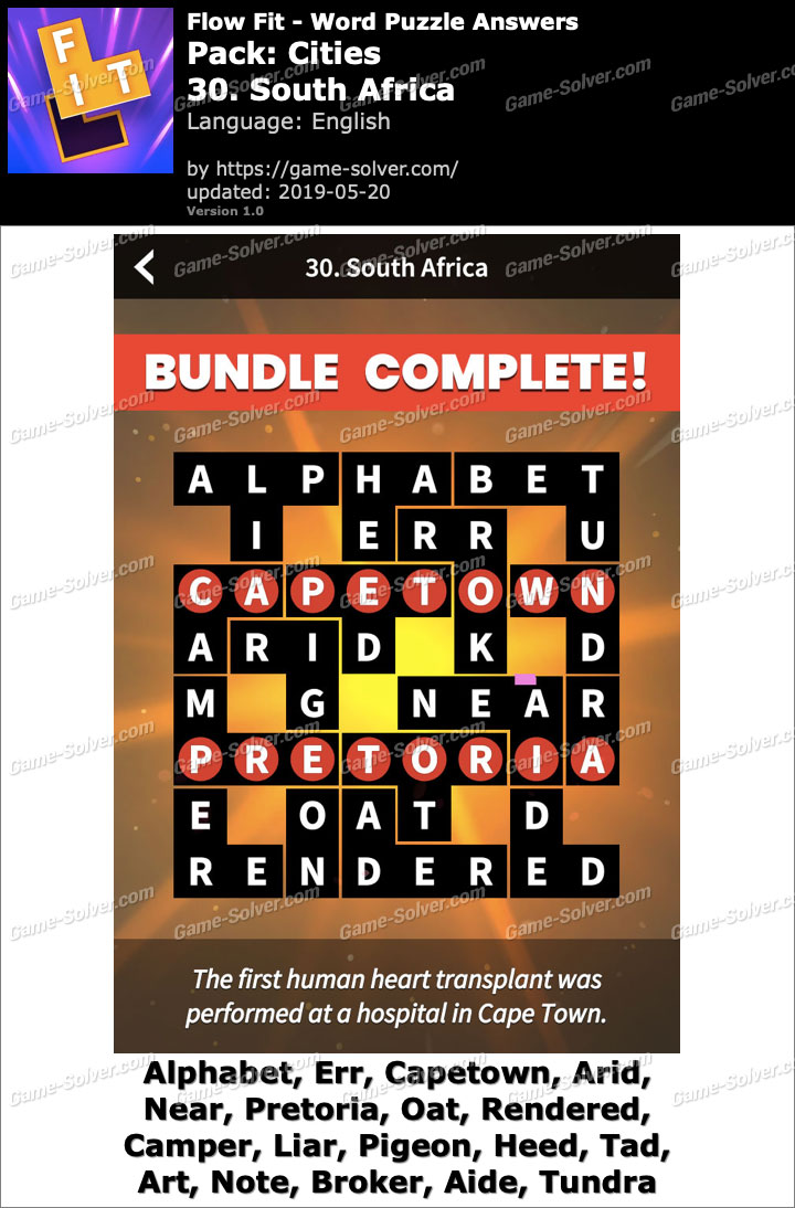 Flow Fit Cities-30 South Africa Answers