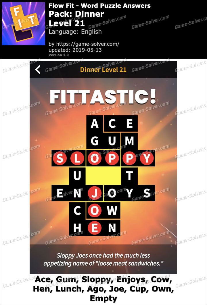 Flow Fit Dinner-Level 21 Answers