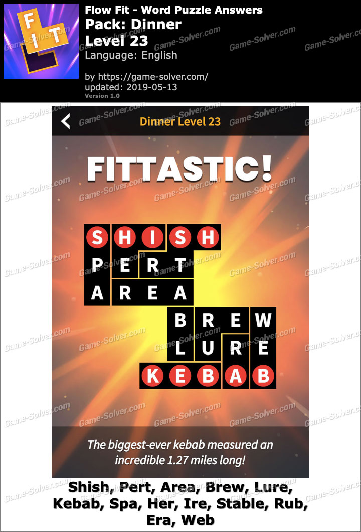 Flow Fit Dinner-Level 23 Answers