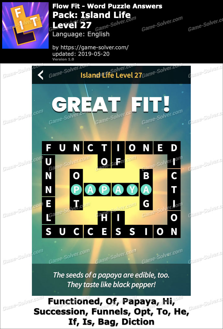 Flow Fit Island Life-Level 27 Answers