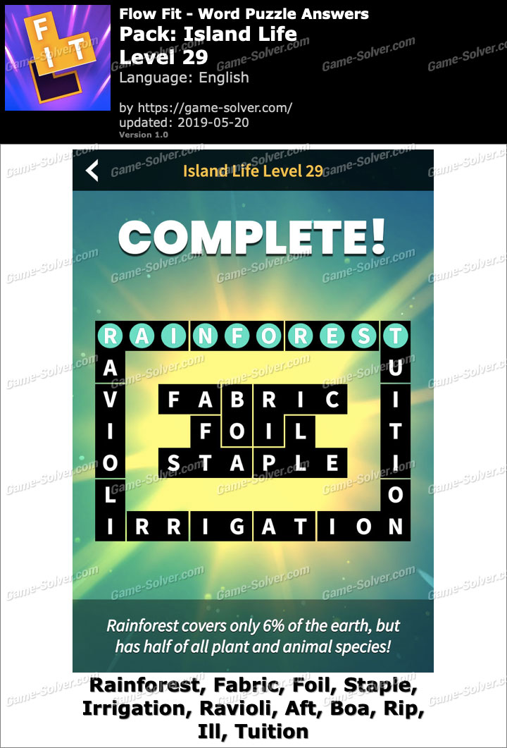 Flow Fit Island Life-Level 29 Answers