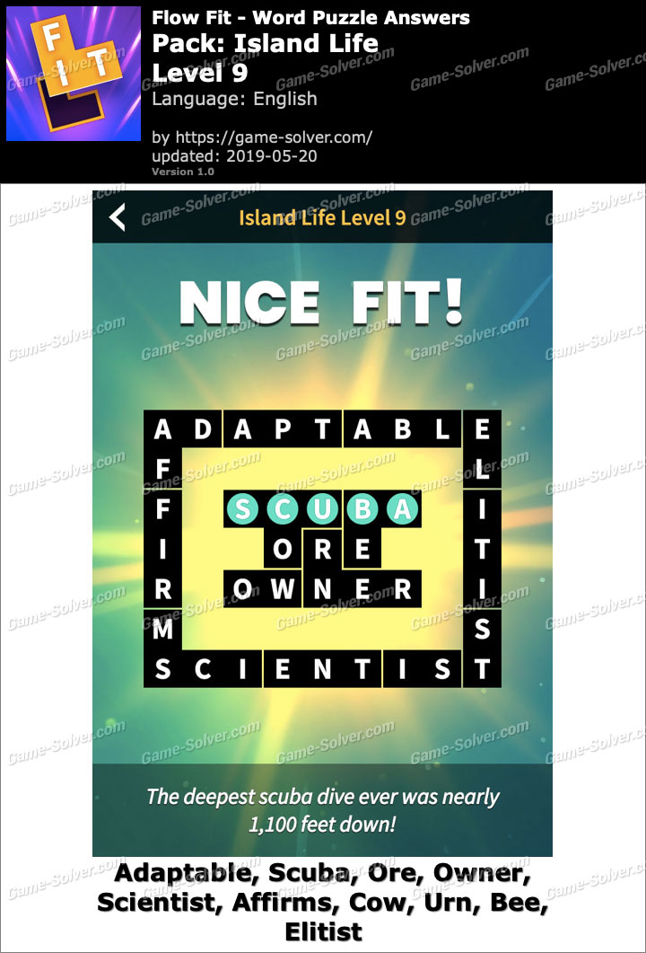 Flow Fit Island Life-Level 9 Answers