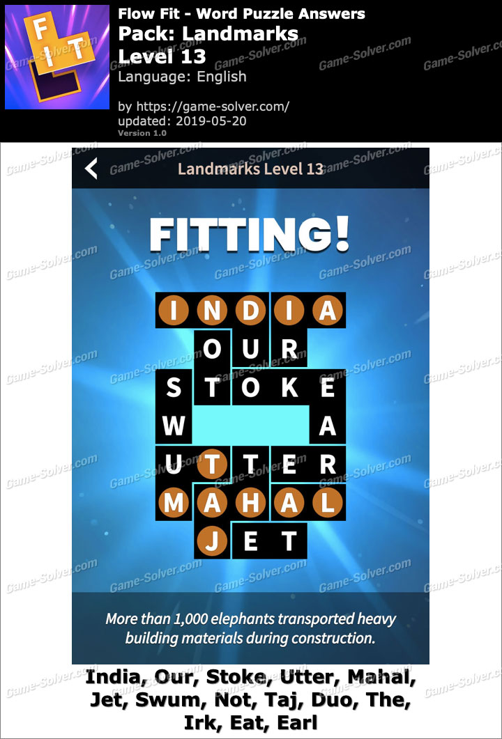 Flow Fit Landmarks-Level 13 Answers