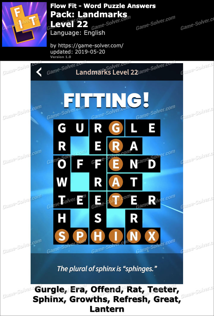 Flow Fit Landmarks-Level 22 Answers