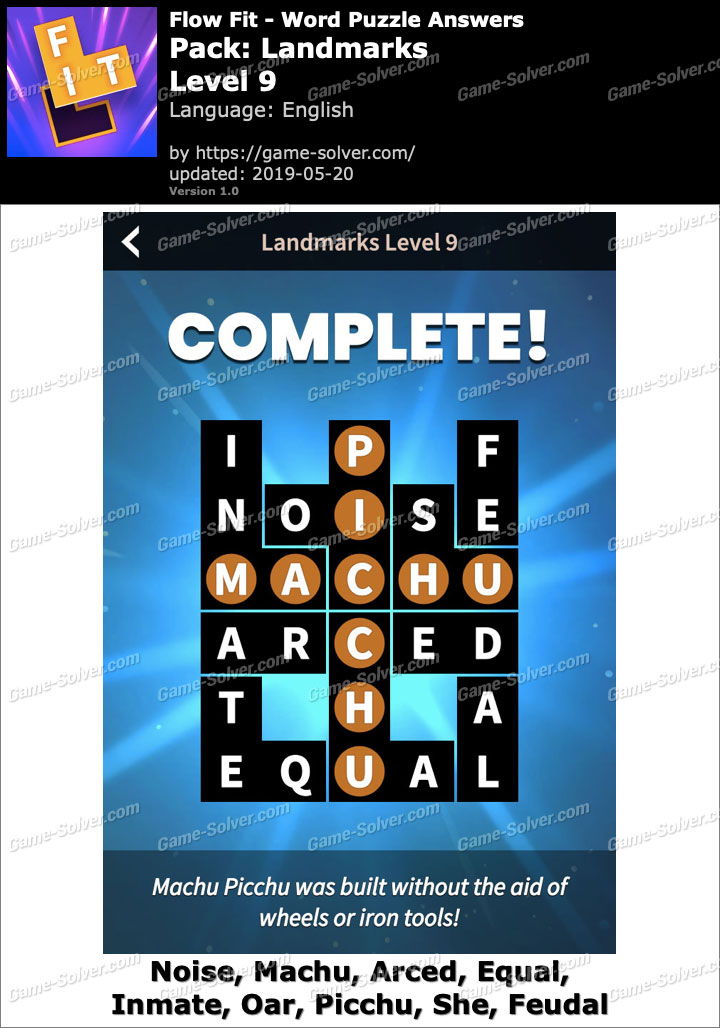 Flow Fit Landmarks-Level 9 Answers