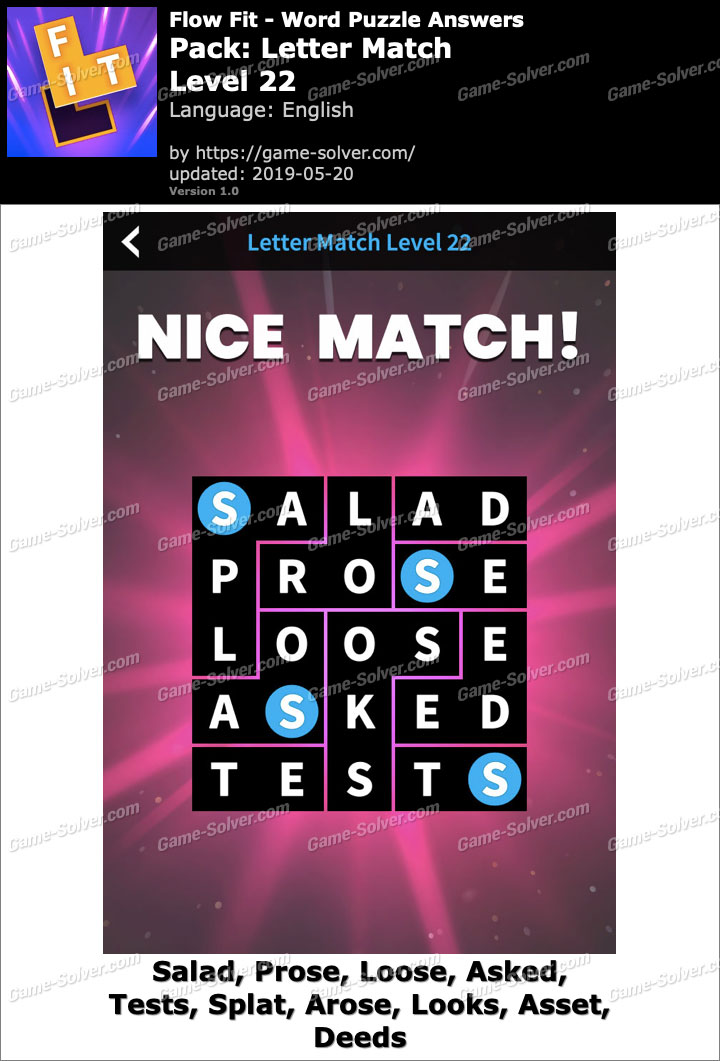 Flow Fit Letter Match-Level 22 Answers