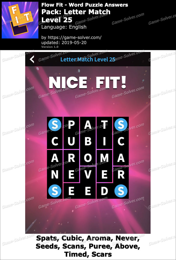 Flow Fit Letter Match-Level 25 Answers