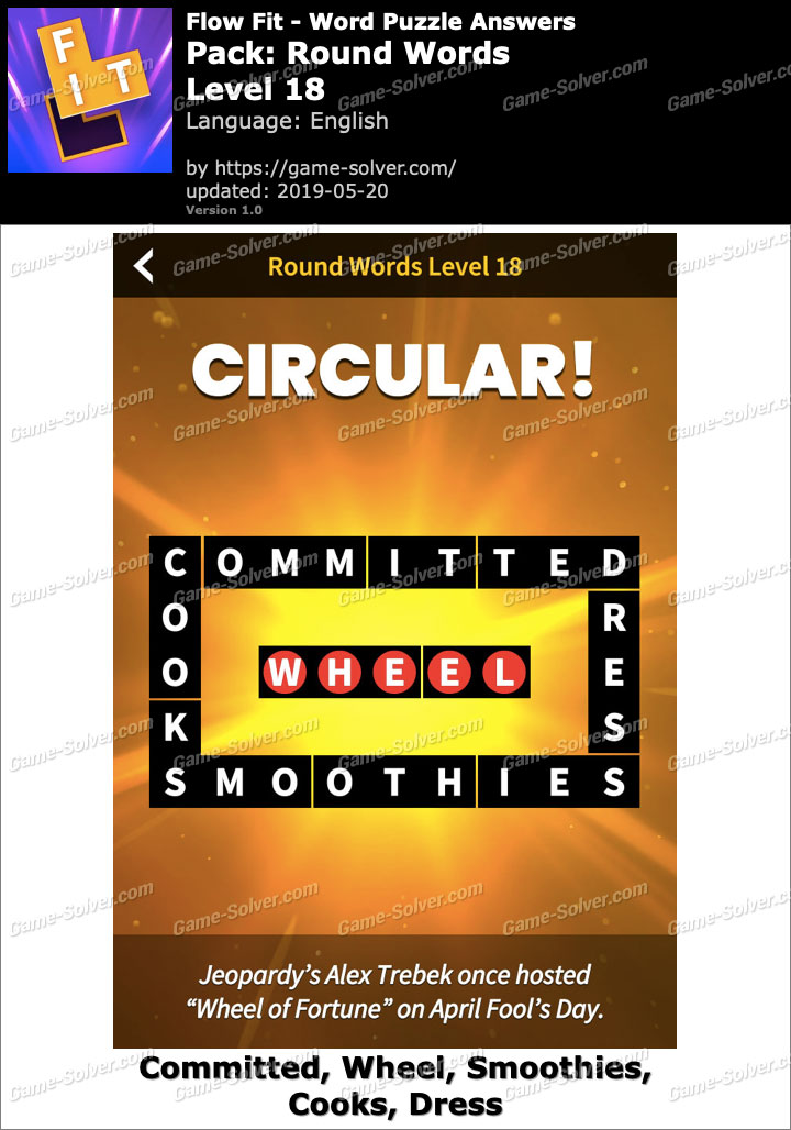 Flow Fit Round Words-Level 18 Answers