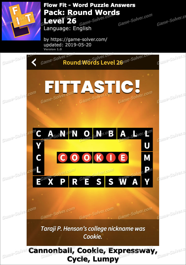 Flow Fit Round Words-Level 26 Answers