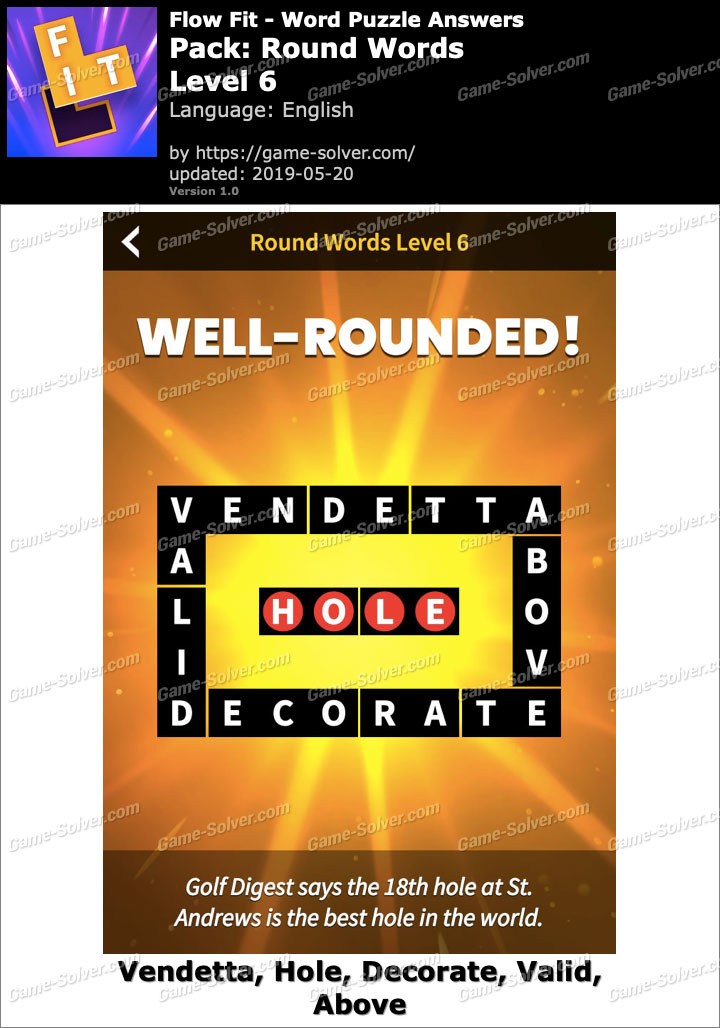 Flow Fit Round Words-Level 6 Answers