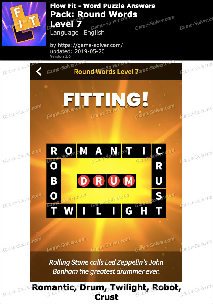 Flow Fit Round Words-Level 7 Answers