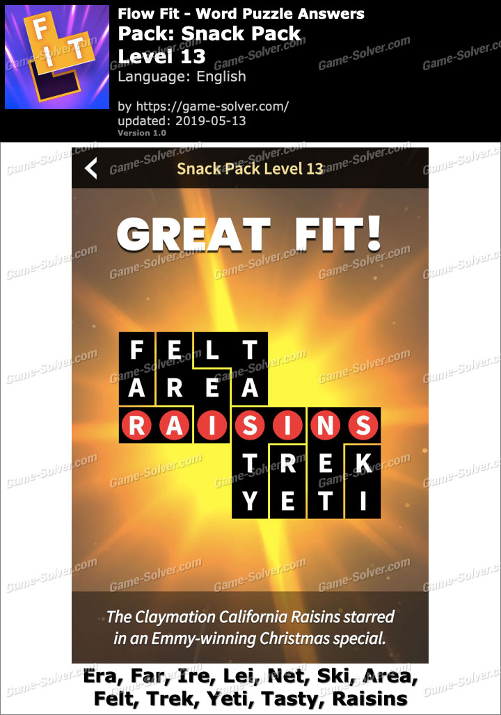 Flow Fit Snack Pack-Level 13 Answers - Game Solver