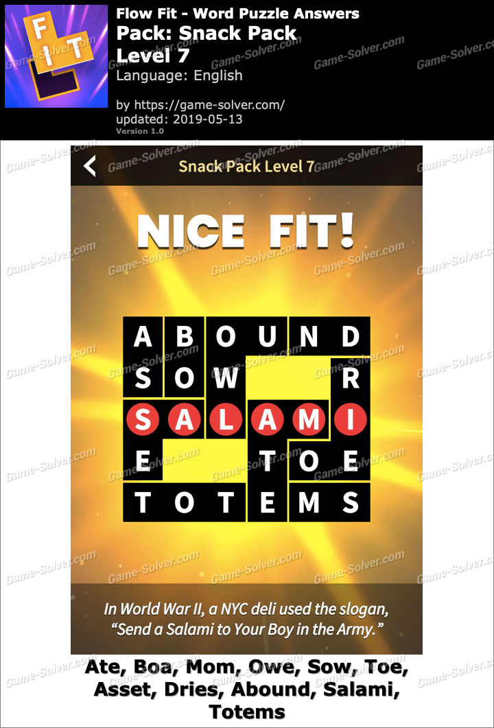 Flow Fit Snack Pack-Level 7 Answers