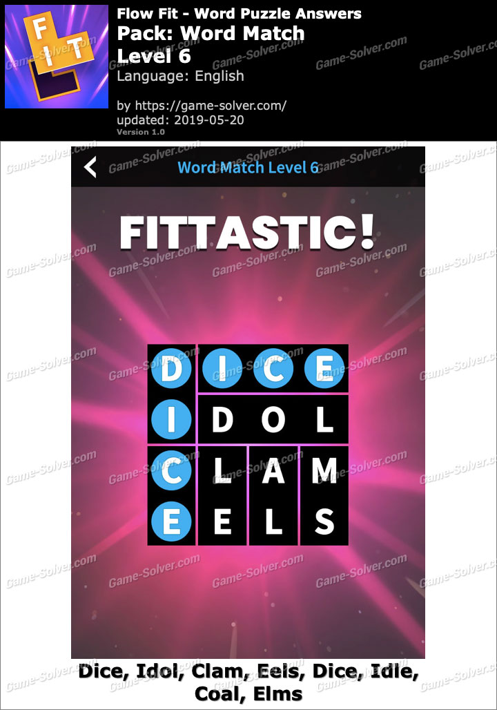 Flow Fit Word Match-Level 6 Answers