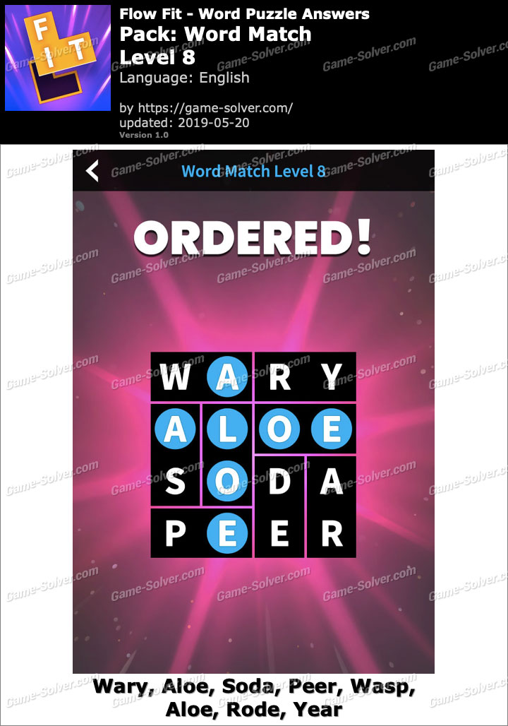 Flow Fit Word Match-Level 8 Answers