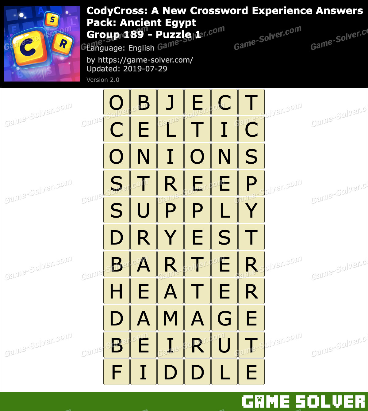 CodyCross Ancient Egypt Group 189-Puzzle 1 Answers