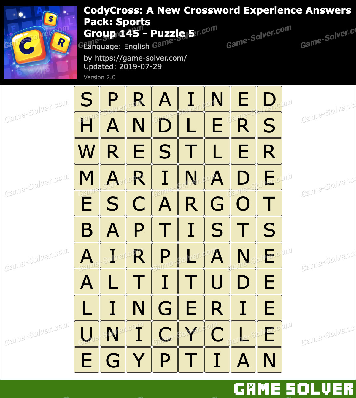 CodyCross Sports Group 145-Puzzle 5 Answers