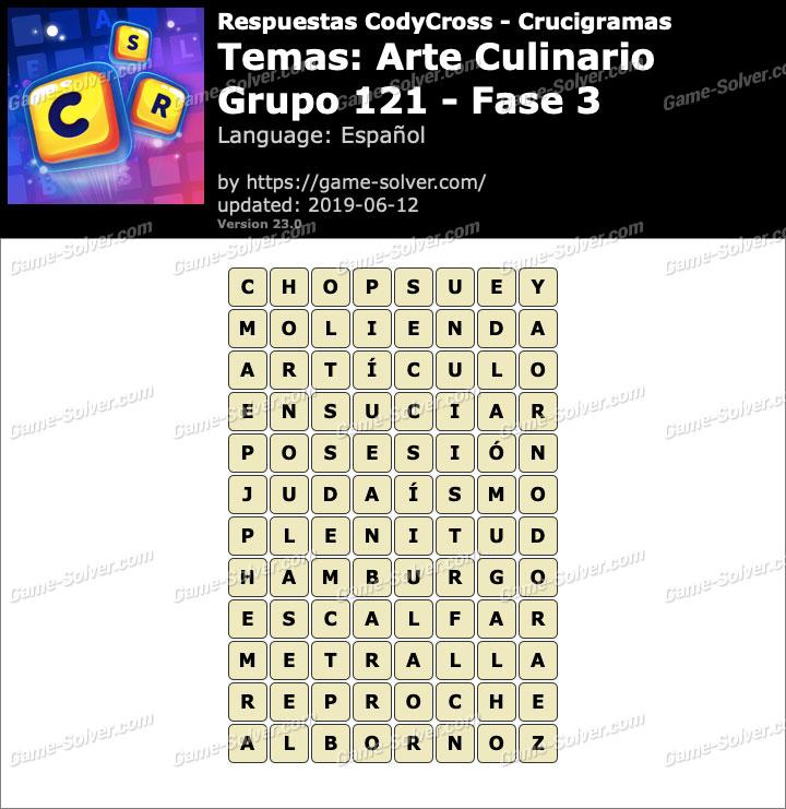 Respuestas CodyCross Arte Culinario Grupo 121-Fase 3