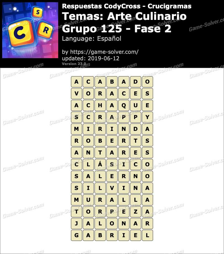 Respuestas CodyCross Arte Culinario Grupo 125-Fase 2