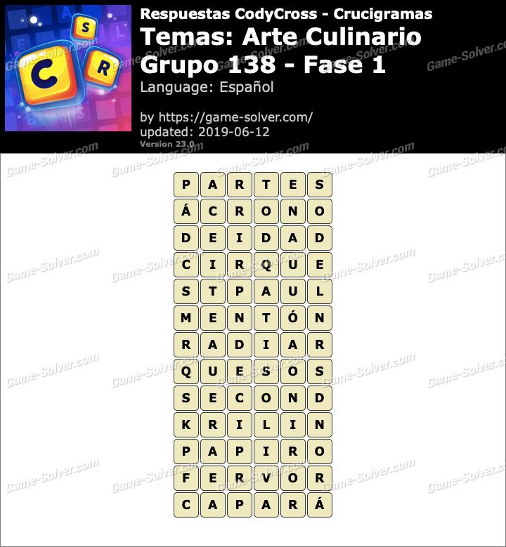 Respuestas CodyCross Arte Culinario Grupo 138-Fase 1