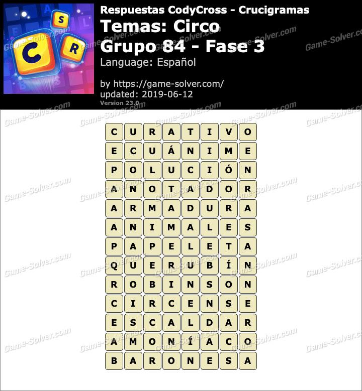 Respuestas CodyCross Circo Grupo 84-Fase 3