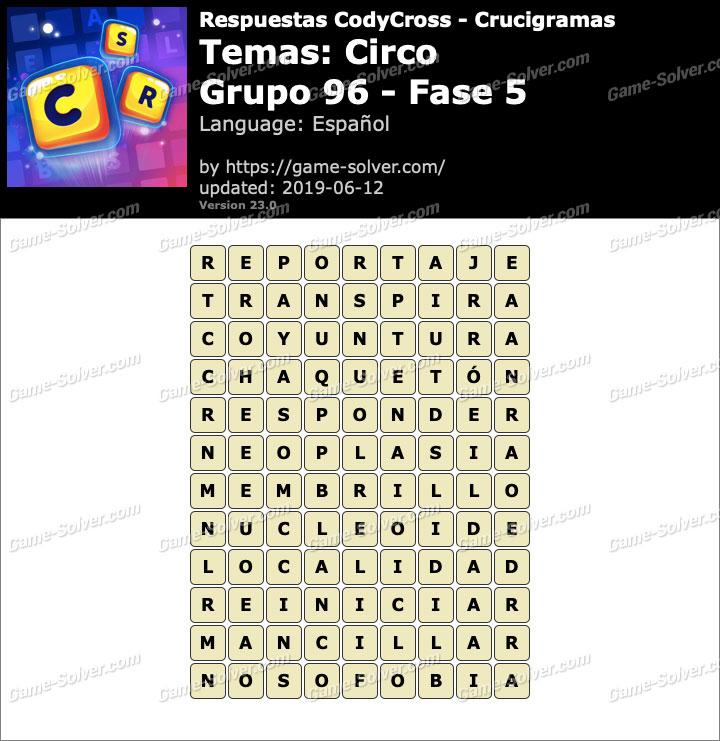 Respuestas CodyCross Circo Grupo 96-Fase 5