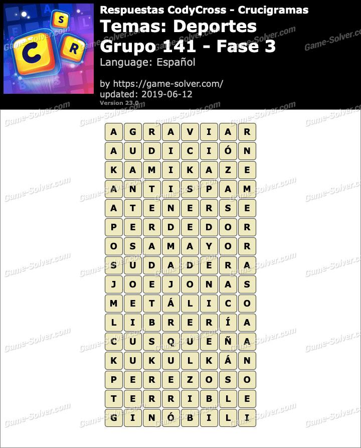 Respuestas CodyCross Deportes Grupo 141-Fase 3