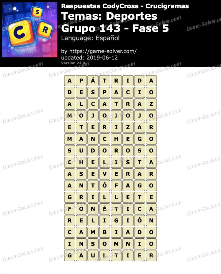 Respuestas CodyCross Deportes Grupo 143-Fase 5