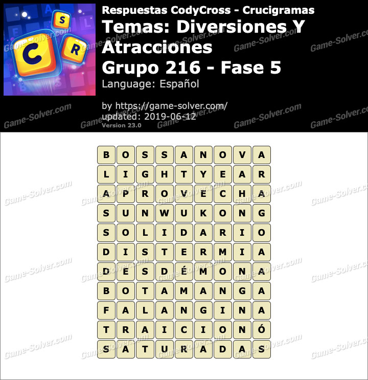 Respuestas CodyCross Diversiones y Atracciones Grupo 216-Fase 5